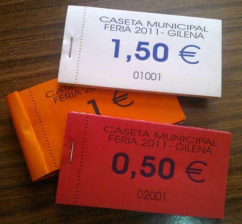 tickets para consumiciones