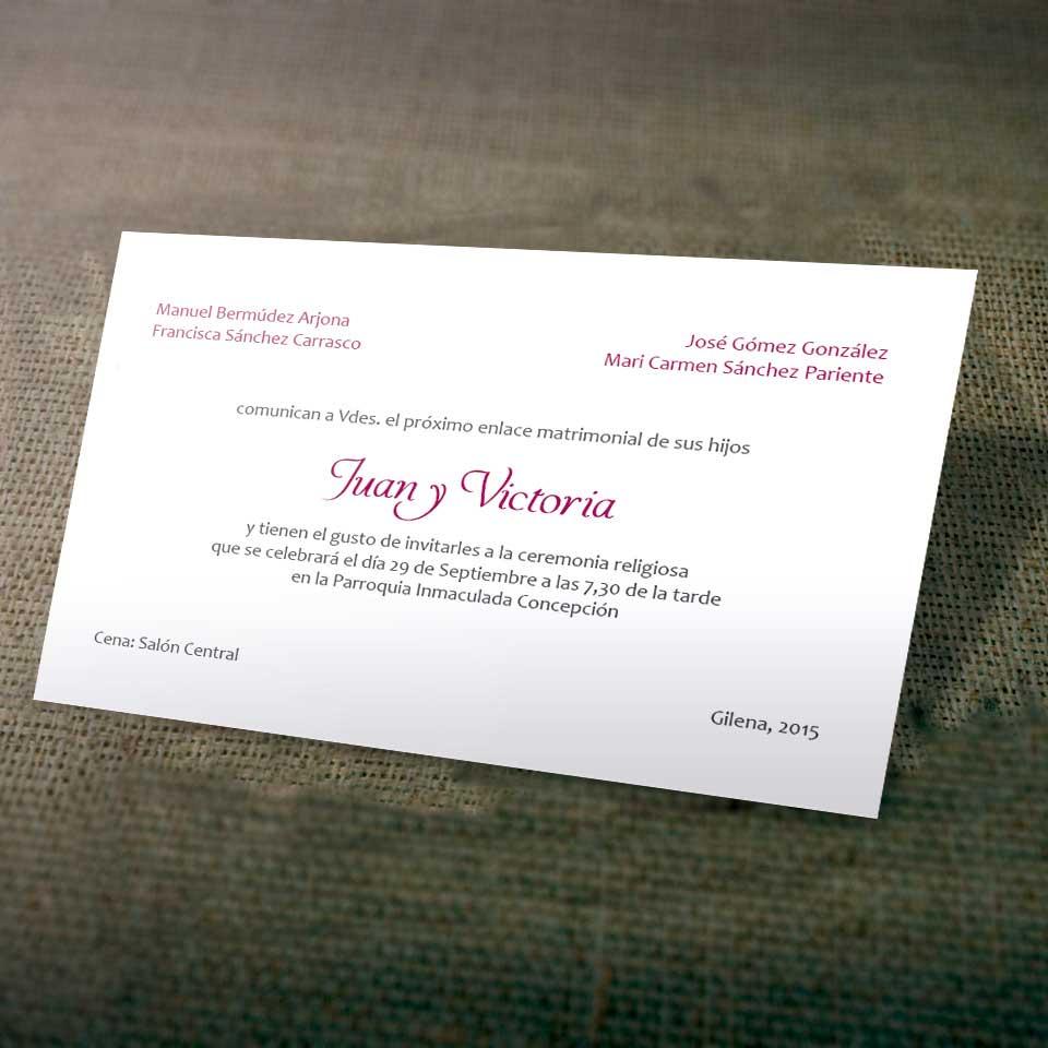 Tarjetas para Invitación de Bodas